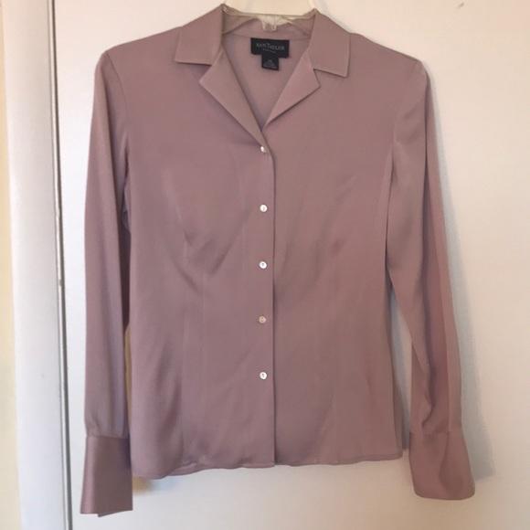 efaf246dbc4311 Ann Taylor Tops | Lavender Silk Button Down Blouse | Poshmark